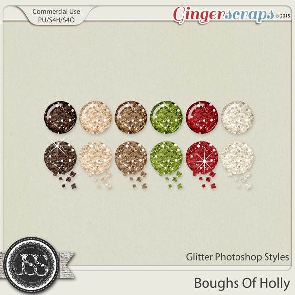 Boughs Of Holly CU Glitter Photoshop Styles
