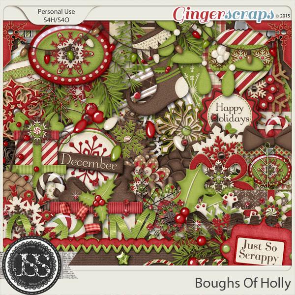 Boughs Of Holly Digital Scrapbooking Kit