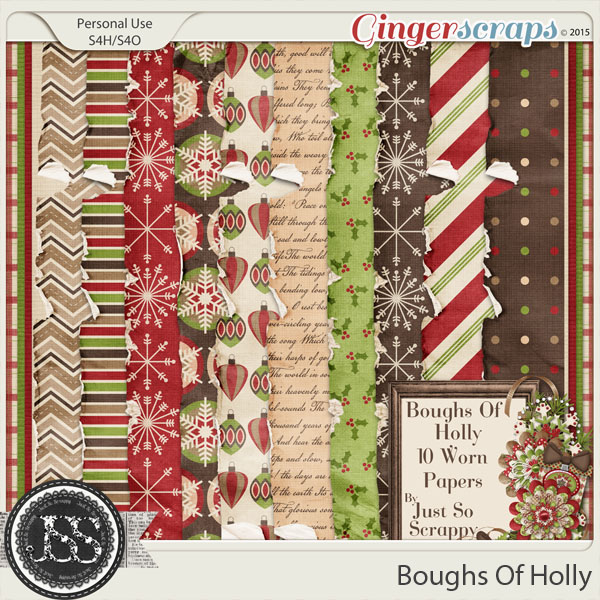 Boughs Of Holly Worn and Torn Papers
