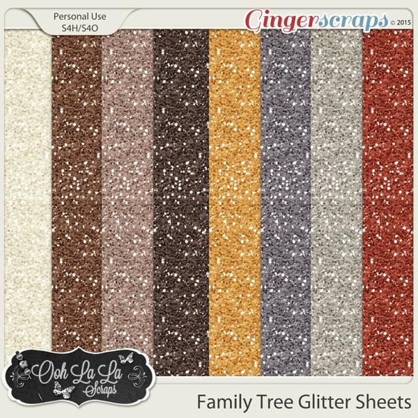 Family Tree Glitter Sheets