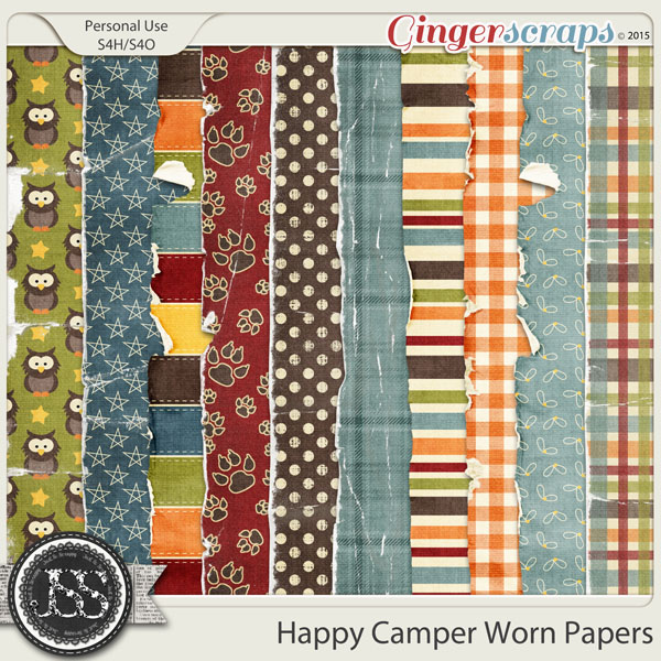 Happy Camper Worn and Torn Papers