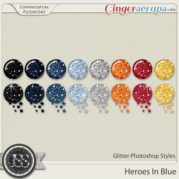 Heroes In Blue Glitter CU Photoshop Styles