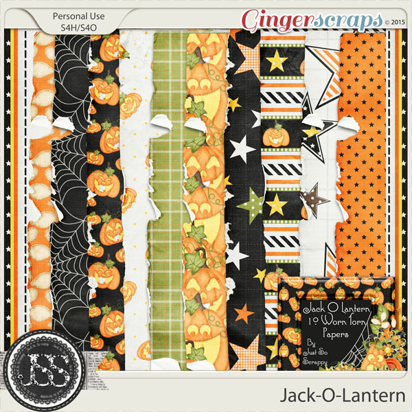 Jack O Lantern Worn and Torn Papers