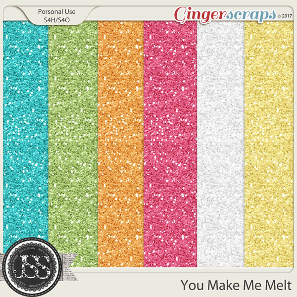 You Make Me Melt 12x12 Glitter Papers