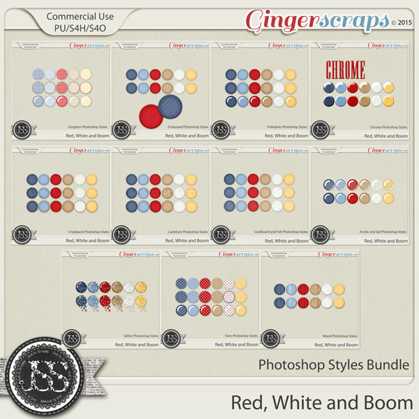 Red White and Boom CU Photoshop Styles Bundle