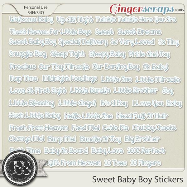 Sweet Baby Boy Word Stickers