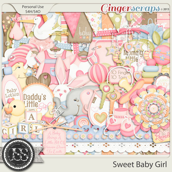 Sweet Baby Girl Digital Scrapbooking Kit