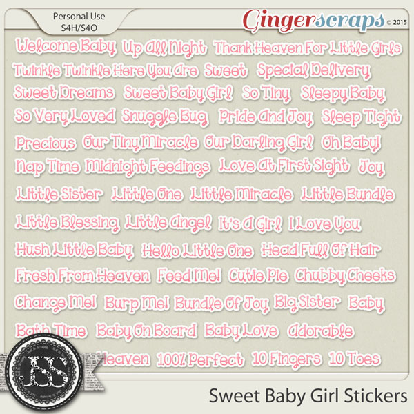 Sweet Baby Girl Word Stickers