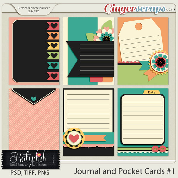 Journal and Pocket Scrapbooking Cards Layered Templates Pack No 1