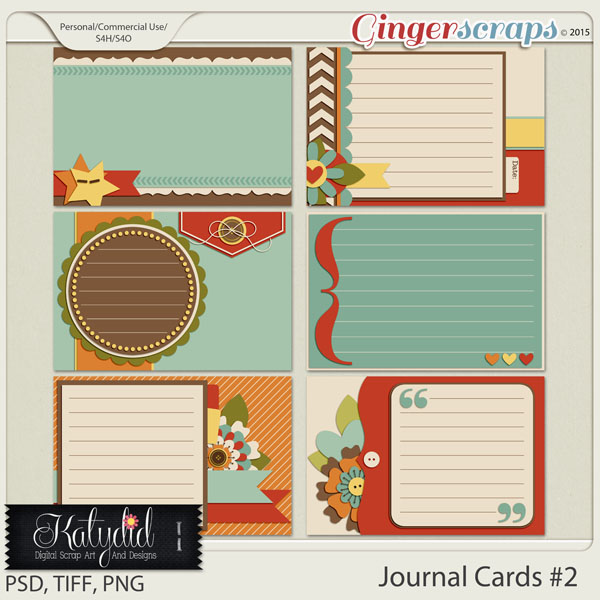 Journal and Pocket Scrapbooking Cards Layered Templates Pack No 2