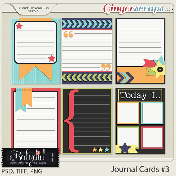Journal and Pocket Scrapbooking Cards Layered Templates Pack No 3