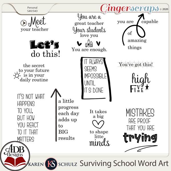 Surviving School Word Art by Karen Schulz and ADB Designs