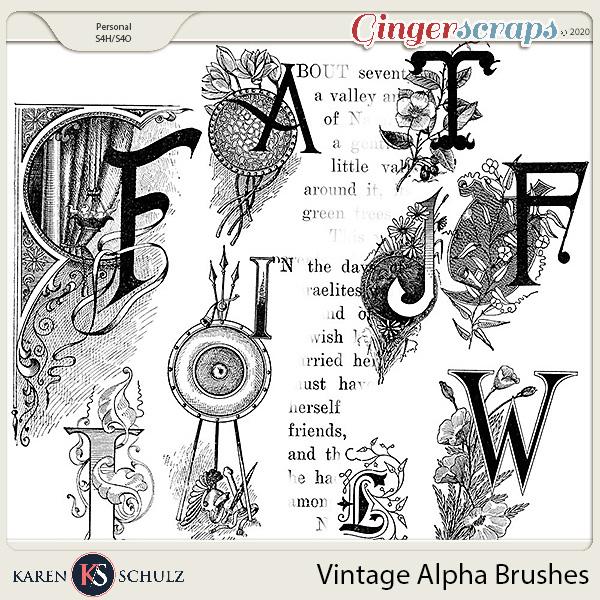 Vintage Alpha Brushes by Karen Schulz