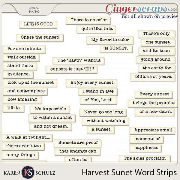 Harvest Sunset Word Strips by Snickerdoodle Designs