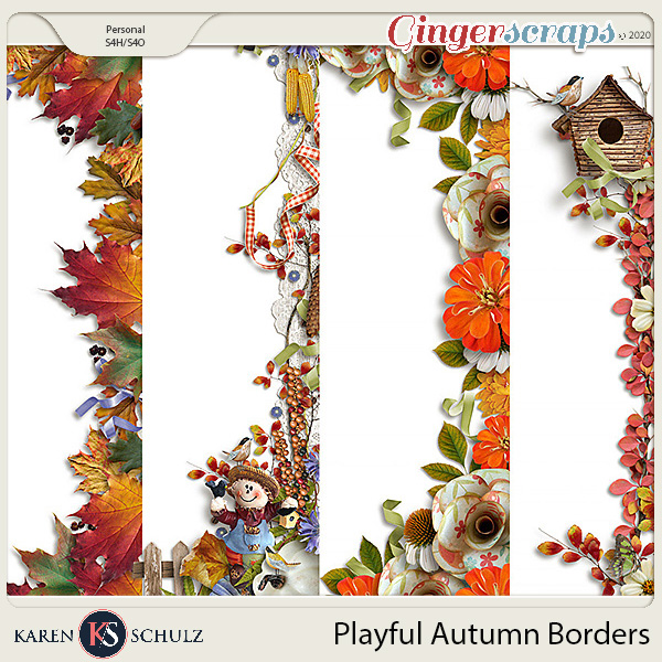 Playful Autumn Borders by Snickerdoodle Designs and Linda Cumberland Designs