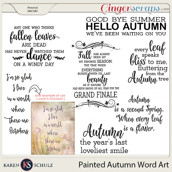 Painted Autumn Word Art by Karen Schulz