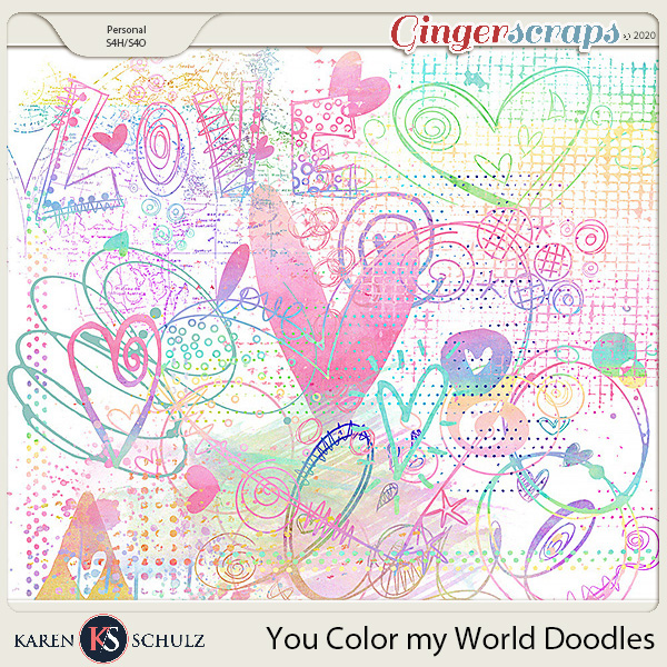 You Color My World Watercolor Doodles by Snickerdoodle Designs