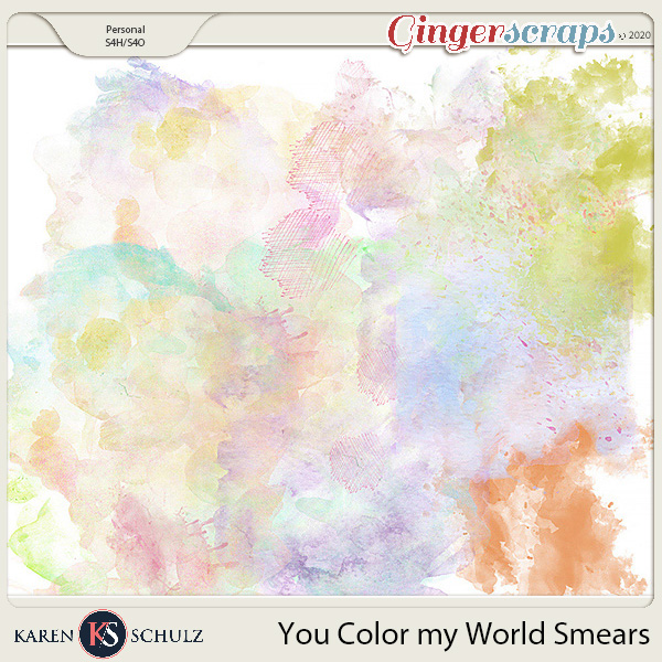You Color My World Watercolor Smears by Karen Schulz