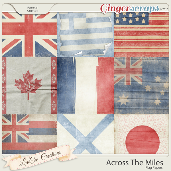 Across The Miles Vintage Flag Papers