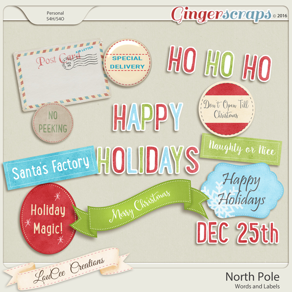 North Pole Words and Labels
