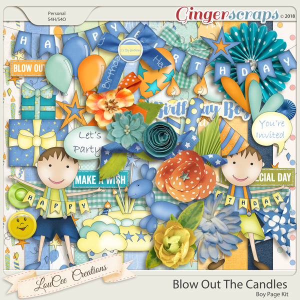 Blow Out The Candles Boy Page Kit by LouCee Creations