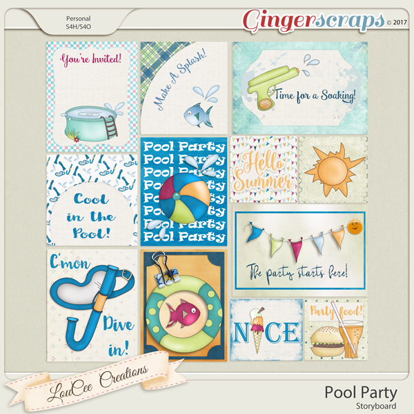 Pool Party Storyboard Journal Cards