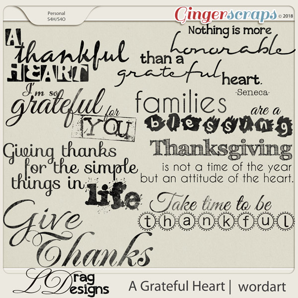 A Grateful Heart: Wordart by LDragDesigns