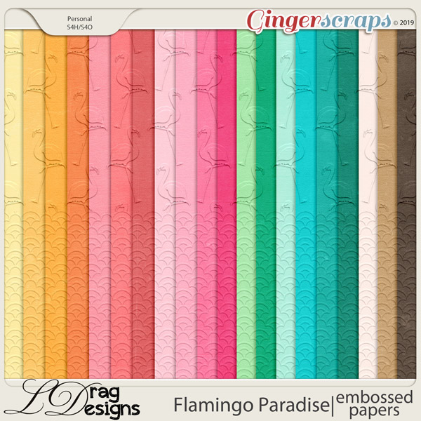 Flamingo Paradise: Embossed Papers by LDragDesigns