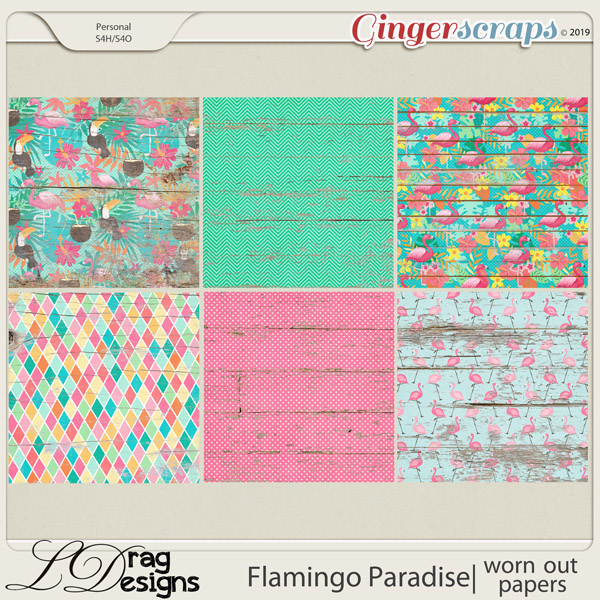 Flamingo Paradise: Worn Out Papers by LDragDesigns