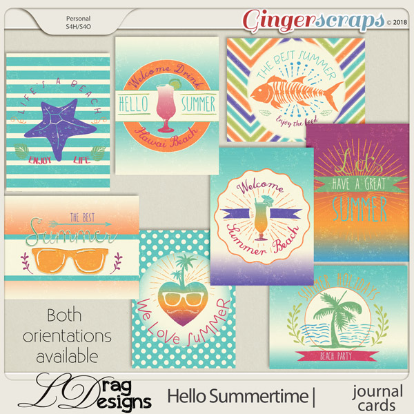 Hello Summertime: Journal Cards by LDragDesigns
