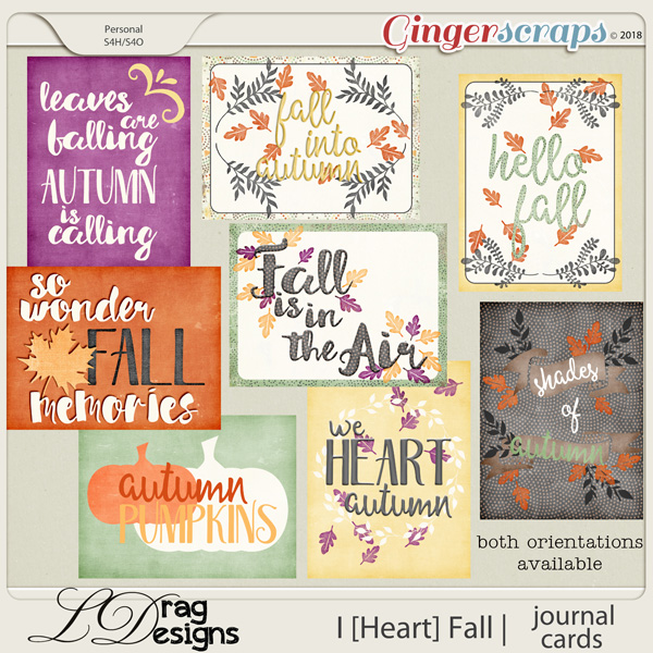 I [Heart] Fall: Journal Cards by LDragDesigns