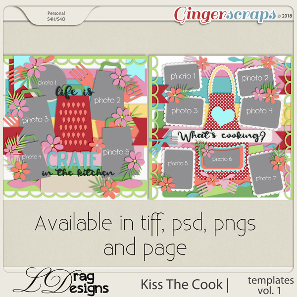gingerscraps templates one page templates kiss the cook