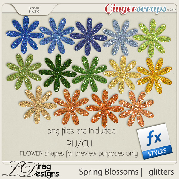 Spring Blossoms: Glitterstyles by LDragDesigns
