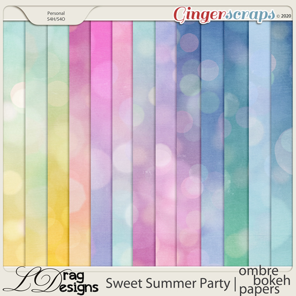 Sweet Summer Party: Ombre-Bokeh Papers by LDragDesigns