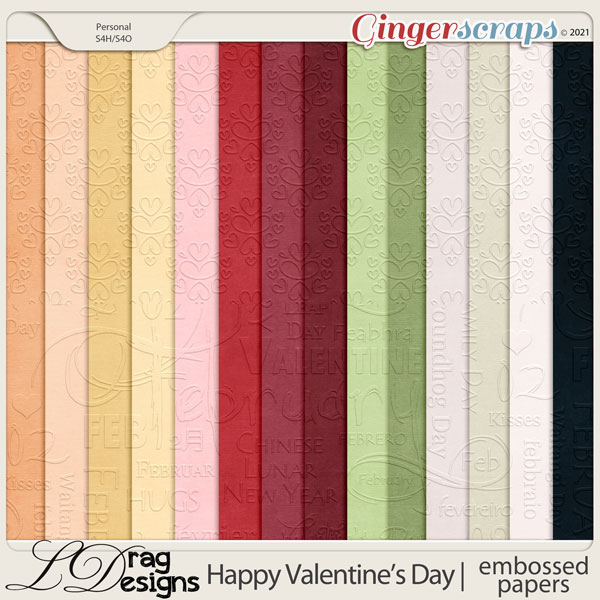 Valentine's Day: Embossed Papers by LDragDesigns