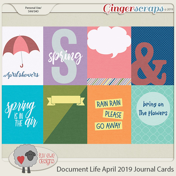 Document Life April 2019 Journal Cards by Luv Ewe Designs