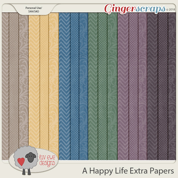 A Happy Life Extra Papers by Luv Ewe Designs
