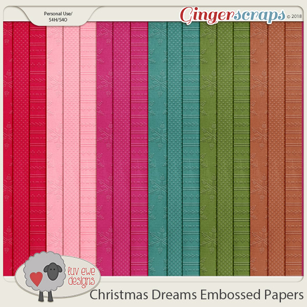 Christmas Dreams Embossed Papers by Luv Ewe Designs