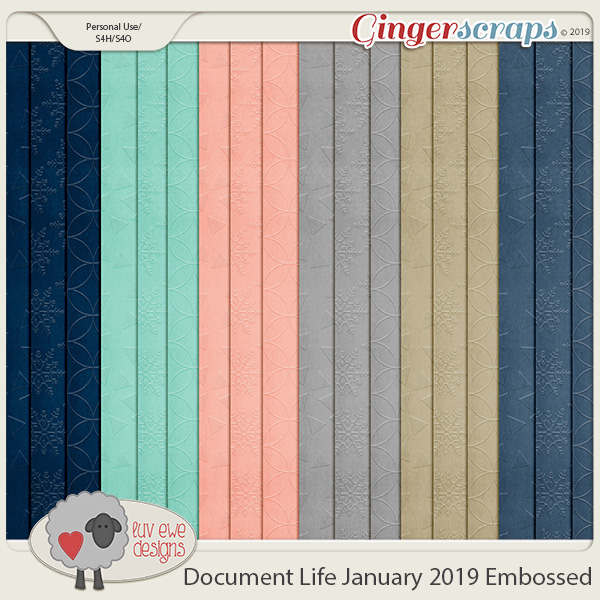 Document Life January 2019 Embossed Papers by Luv Ewe Designs
