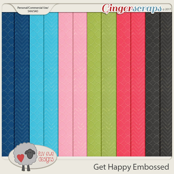 Get Happy Embossed Papers by Luv Ewe Designs