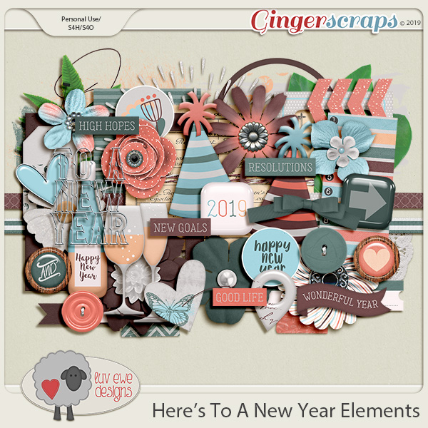 Here's To A New Year Elements by Luv Ewe Designs