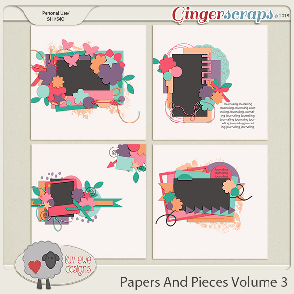 Papers and Pieces Volume 3 Templates by Luv Ewe Designs