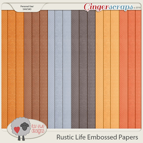 Rustic Life Embossed Papers by Luv Ewe Designs