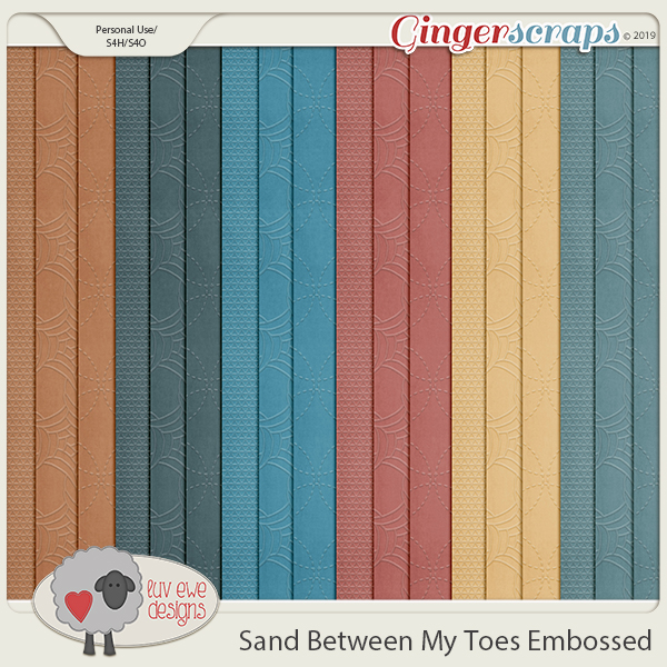 Sand Between My Toes Embossed Papers by Luv Ewe Designs