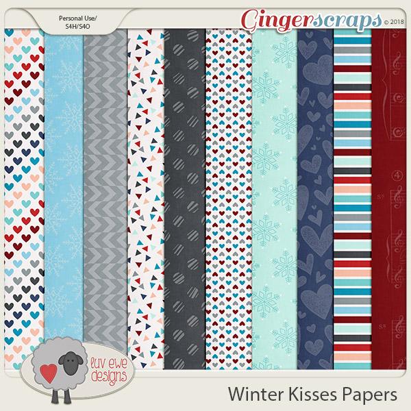 Winter Kisses Papers by Luv Ewe Designs