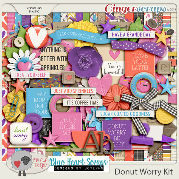 Donut Worry Kit by Luv Ewe Designs and Blue Heart Scraps