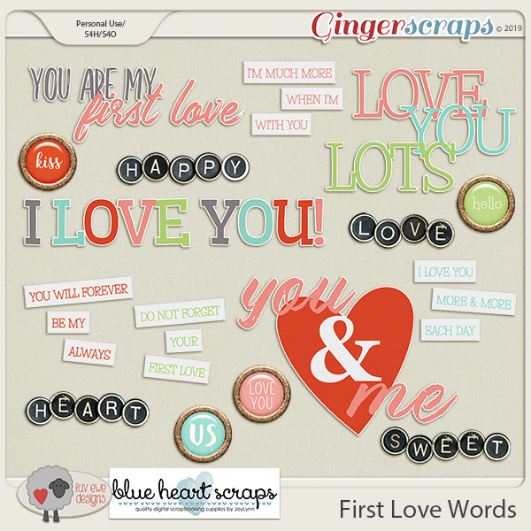 First Love Words by Luv Ewe Designs and Blue Heart Scraps