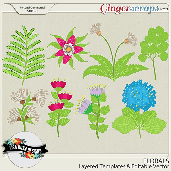 Florals CU/PU Layered Templates by Lisa Rosa Designs