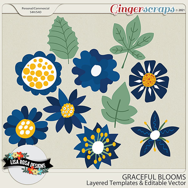 Graceful Blooms CU/PU Layered Templates by Lisa Rosa Designs