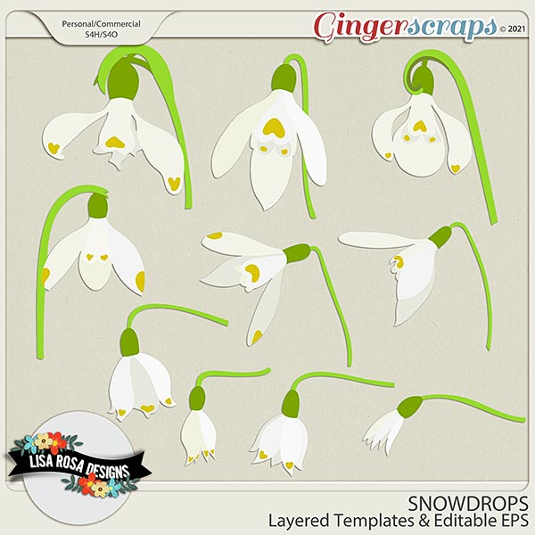 Snowdrops CU/PU Layered Templates by Lisa Rosa Designs
